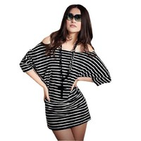 Allegra K Ladies Off Shoulder Boat Neck T-shirts Striped Casual Tunic Tops