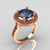 Legacy Classic 14K Rose Gold 2.5 Carat Alexandrite Diamond Solitaire Ring R115-14RGDAL