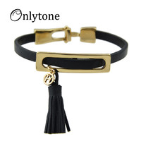 Rock Style Gold Metal Tassel Black Pu Leather Chain Wrap Bracelets And Bangles For Women and Men Accessories