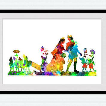 Snow White and Prince watercolor poster, Disney wall art, Snow White colorful print, home decoration, kids room, wall hanging gift art, W136