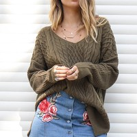 Coming Back For More Olive Cable Knit Sweater