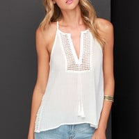 Side of Crochet Ivory Tank Top