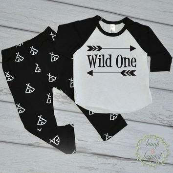 Boy Cake Smash Outfit Wild One Outfit Set Boy First Birthday Shirt Baby Boy Outfit for Pictures Hipster Baby Clothes 025