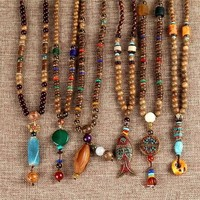85cm Nepal Buddhist Mala Wood Beads Necklaces Natural Stone Pendant Necklace For Women Men