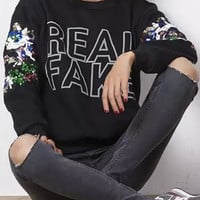 Real Fake Sequin Sleeve Black Sweatshirt