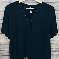 Brooklyn Lace Up Top (Black)