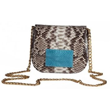 Circle & Square | Zebra/Blue Rimini Python Clutch/Shoulder Bag