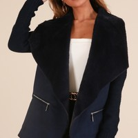 Just Before Midnight coat in navy Produced By SHOWPO