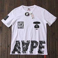 Aape 2019 new street fashion men and women camouflage printed round neck half sleeve t-shirt white