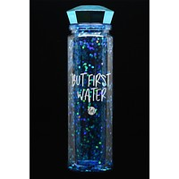 """But First, Water"" Water Bottle (Blue)"