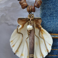 Wire wrapped shell necklace; seashell pendant; sea urchin spine; neutral color necklace; wire wrapped shell; mother of pearl; beach theme