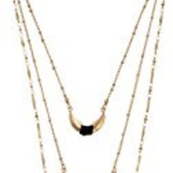 Gold Layered Metal with Leather Wrap Necklace