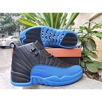 Air Jordan 12 Retro Black/royal Blue Basketball Shoes
