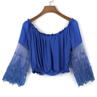 Blue Sheer Lace Panel Long Sleeve Crop Top
