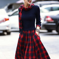 Red and Blue Plaid Long Sleeve Dress with Scarf