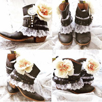 Fall boots, Bohemian festival booties, Stevie Nicks style boots, Women's country cowgirl, Short boho festival boots, True rebel clothing
