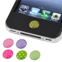 Amazon.com: eForCity 6 Pieces Home Button Sticker compatible with Apple® Iphone® / iPad® / iPod® touch, Dot / Strip: Cell Phones & Accessories