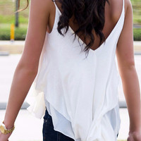 The Barcelona Chiffon Double Layer White Blouse