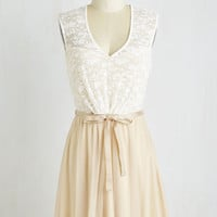 Fairytale Short Length Cap Sleeves A-line White Haute Cocoa Dress in Vanilla