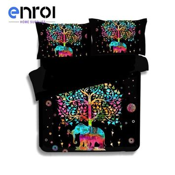 3 Pieces 3D Elephant Bedding Set Bohemia King Duvet Cover with Pillow Case Colorful Printed Indian Bed Set Cover