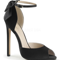 Black Satin Ankle Strap Sexy d'Orsay Pumps