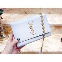 YSL fashion pure color jewelry chain single shoulder bag popular casual lady shopping bag White