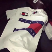 DCCKB62 Tommy Jeans Popular Women Men Casual Letter Print Short Sleeve T-Shirt Pullover Top White I