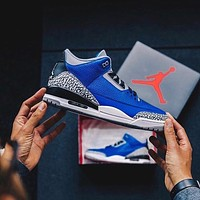 Nike Air Jordan 3 Retro Varsity Royal Men's and Women's Sneakers Shoes