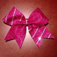Hot Pink Glitter Cheer Bow with half striped by BowsByEm on Etsy
