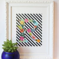 Colorful Monogram Initial Print Black and White Stripe Floral Print Custom Wall Art Letter Artwork Art Cute Wall Decor Personalized / 8x10