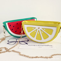 Cute Women Cupcake Ice Cream Fruit Shape Cartoon Fashion Bags Chain PU Leather Ladies Small Mini Shoulder Messenger Bags
