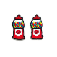 Set 2pcs. Mini Red Bubble Gum Vending Machine New Sew / Iron On Patch Embroidered Applique Size 1.8cm.x3.5cm.
