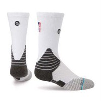 Stance Fusion Basketball 559 NBA NWT White Solid Crew Socks Large 9-12 $22