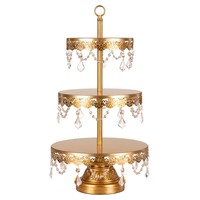 3-Tier Crystal-Draped Dessert Cupcake Stand (Gold)