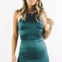 Lonely Hearts Club Hunter Green Sleeveless Suede Mini Dress
