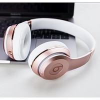 Trending Beats Solo 3 Wireless Magic Sound Bluetooth Wireless Hands Headset MP3 Music Headphone with Microphone Line-in Socket TF Card Slot Rose Gold I