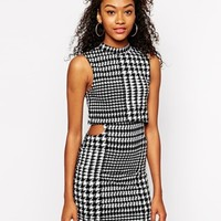 Motel 2 in 1 Dress with High Neck in Houndstooth Print