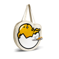 "Sanrio Gudetama Family Mart Limited Lazy Ver 18"" Tote Bag w/ Badge"