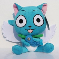 30cm Anime Fairy Tail Happy Plush Figure Toy Stuffed Soft Doll With Fish Great Gift
