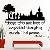 Wall Decals Quotes Vinyl Sticker Decal Quote Lotus Flower Yoga Buddha Those Who Are Free Of Resentful Thoughts Surely Find Peace Home Decor Art Bedroom Design Interior C40