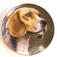 Dog Plate Porcelain Collectible Beagle Plate Faithful Friend by The Danbury Mint