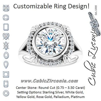 "Cubic Zirconia Engagement Ring- The Leontine (Customizable Round Cut Design with Split Band and ""Lion's Mane"" Halo)"