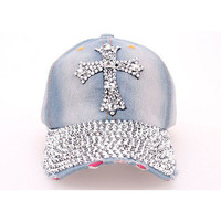 Cross diamond cowboy baseball cap