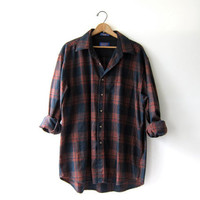 Vintage Plaid Pendleton Flannel. Wool Flannel. Grunge Shirt. Boyfriend button up shirt. men's XL
