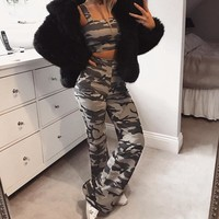 Women Casual Bodycon Fashion Camouflage Flares Leisure Pants Trousers