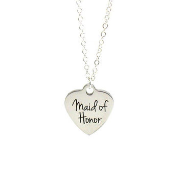 Maid Of Honor Necklace, Maid Of Honor Charm Necklace, Silver Maid Of Honor Necklace, Wedding Necklace, Maid Of Honor Jewelry, Wedding Charm