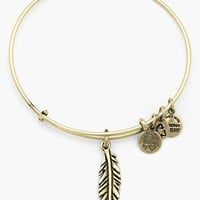 Women's Alex and Ani 'Feather' Expandable Wire Bangle - Russian
