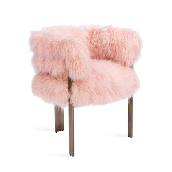 Interlude Home Darcy Chair in Blush Sheepskin