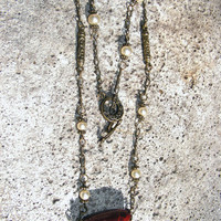 Antiqued Gold & Pearl Necklace with Burnt Umber Focal