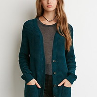 Ribbed Button-Down Cardigan